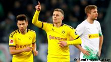 Soccer Football - Bundesliga - Borussia Moenchengladbach v Borussia Dortmund - Borussia-Park, Moenchengladbach, Germany - March 7, 2020 Borussia Dortmund's Thorgan Hazard celebrates scoring their first goal REUTERS/Wolfgang Rattay DFL regulations prohibit any use of photographs as image sequences and/or quasi-video