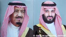 Saudi Arabien Wandbild König Salman bin Abdulaziz Prinz Mohammed bin Salman