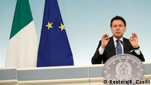 04.03.2020 *** Italian Prime Minister Giuseppe Conte speaks to media as he announces a decree that will close cinemas, schools in order to contain the coronavirus, in Rome, Italy March 4, 2020. REUTERS/Remo Casilli