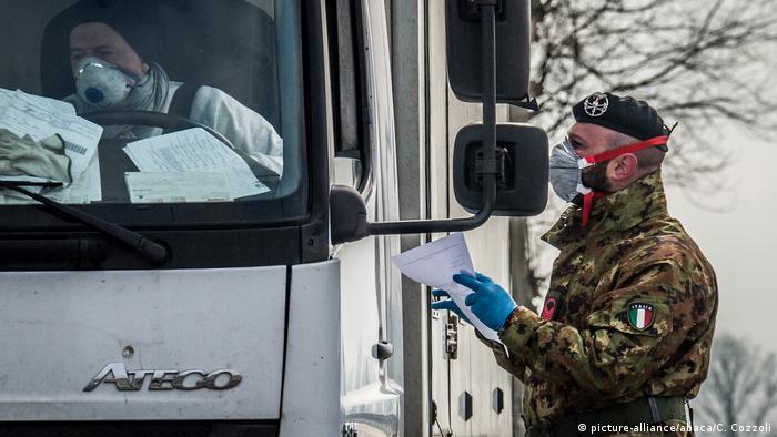 An Italian army checkpoint for coronavirus in Codogno, Lombardy, Italy