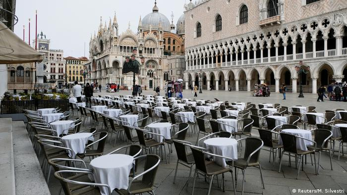 Venice's St Mark's Square is empty after the emergency decree (Reuters/M. Silvestri)