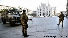 Lombardei Abriegelung Mailand Militär