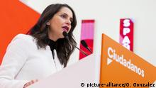 The spokeswoman of Ciudadanos in the Congress of Deputies, Ines Arrimadas, gives a press conference after the meeting of the Ciudadanos'Äô Management Committee with the leadership of the parliamentary group of the party of the Congress of Deputies, in the headquarters of Ciudadanos on January 02, 2020 in Madrid, Spain. (Photo by Oscar Gonzalez/NurPhoto) | Keine Weitergabe an Wiederverkäufer.