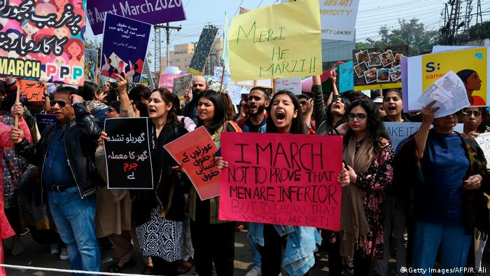 Pakistani women took to the streets on March 8 to mark International Women's Day