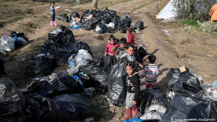 Refugee children on the island of Chios, Greece
