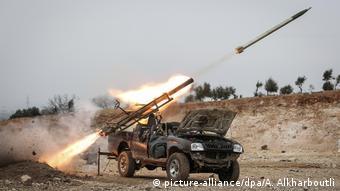 Выстрел с ракетной установки, принадлежащей сирийским правительственным войскам