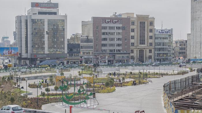 An empty plaza in Tehran as COVID-19 continues to spread in Iran