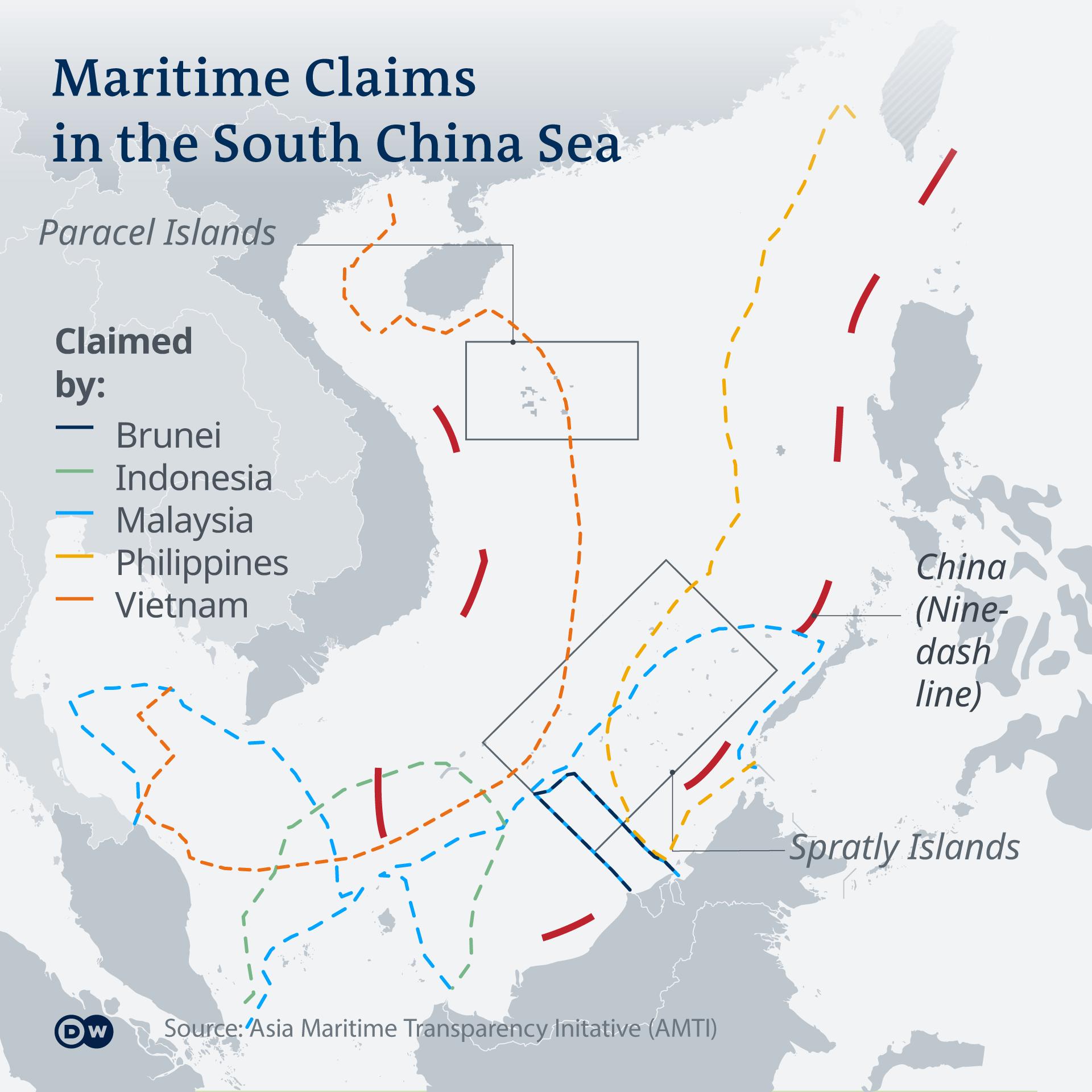 Klaim maritim antara enam negara di Laut Cina Selatan.