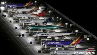 Готовые самолеты Boeing 737 Max, припаркованные на площадке производителя в Сиэтле