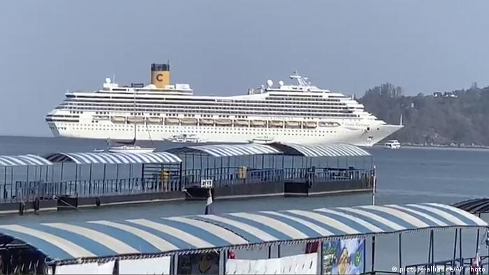 Baby Health in Winter Costa Fortuna cruise ship is seen near Phuket, Thailand.