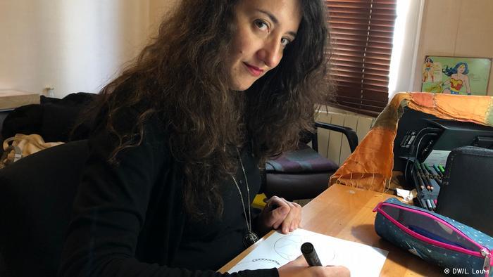 Catherine Bertrand in her studio in Paris