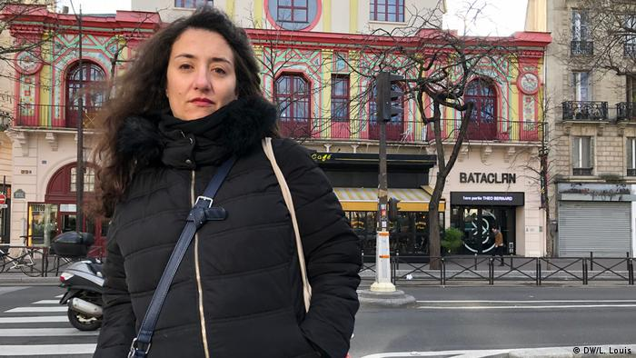 Catherine Bertrand stands in front of the Bataclan in Paris
