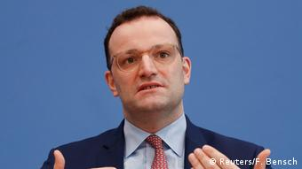 German Health Minister Jens Spahn at a press conference (Reuters/F. Bensch)