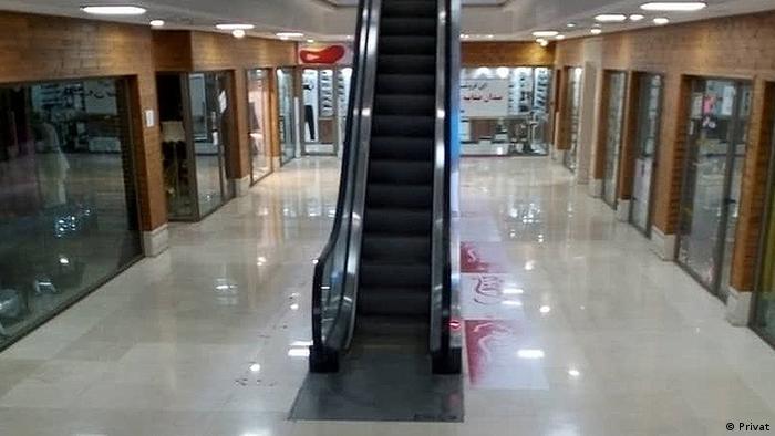 An empty shopping mall in Ghom, Iran