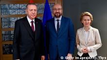 Belgien Brüssel | Recep Tayyip Erdogan, Charles Michel und Ursula von der Leyen