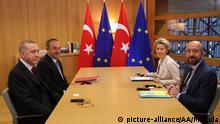 Belgien Brüssel | Recep Tayyip Erdogan, Mevlut Cavusoglu, Charles Michel und Ursula von der Leyen