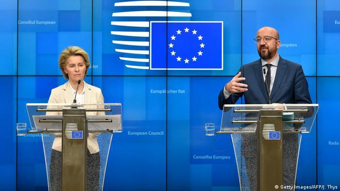 Brüssel | Pressekonferenz Ursula von der Leyen und Charles Michel nach Treffen mit Erdogan
