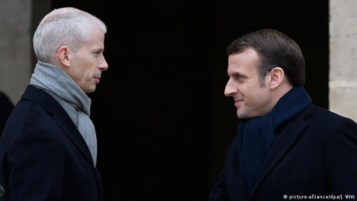 Министр культуры Франк Риестер и президент Франции Эмманюэль Макрон