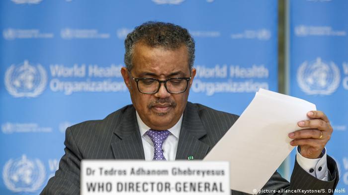 WHO-Chef Tedros Adhanom Ghebreyesus bei einer Pressekonferenz