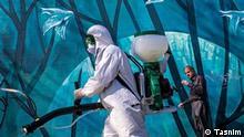 Corona im Iran Tag: Iran, Coronavirus, Desinfizierung der öffentlichen Räumen Quelle: Tasnim Lizens: frei
