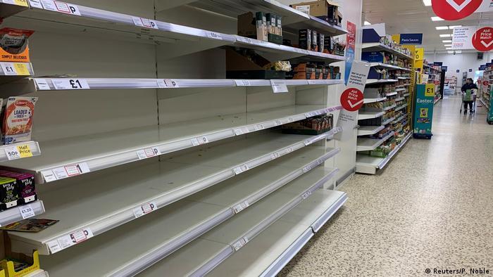Empty supermarket shelves in Manchester, UK