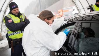 Замер температуры на границе Австрии и Италии, 10 марта