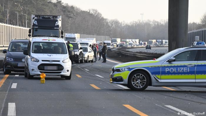 Police block the highway after an accident