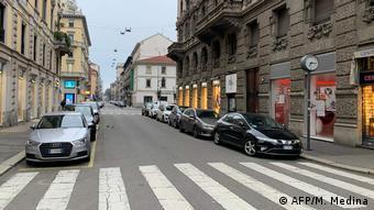 Ruas de Milão vazias