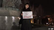 Protestaktion in Moskau gegen die Verfassungsreform nach der Entscheidung der Duma Putins bisherige Präsidentschaften zu annullieren und Putin zu erlauben, bei einer Neuwahl erneut zu kandidieren. Einzelne Streikposten in Moskau gegen der Verfassungsreform Copyright: DW Datum: 10.03.2020 Ort: Moskau, Russland