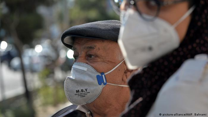 People wearing masks in Tehran, Iran