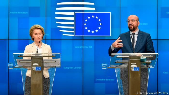 اورزولا فوندرلاین، رئیس کمیسیون و شارل میشل، رئیس شورای اتحادیه اروپا؛ عکس از آرشیو
