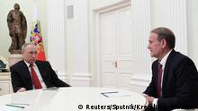 Russland Moskau Präsident Putin mit Ukraine-Opposition Medwedtschuk