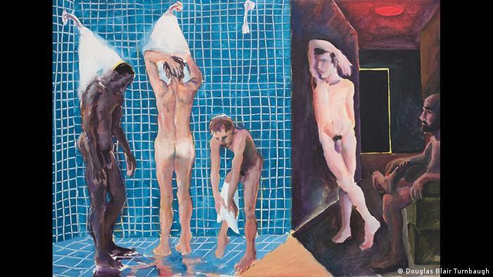در تاریخ هنر، نقاشی کردن بدن برهنه مرد، برای مدت زمانی طولانی بیشتر یک استثناء بود. پاتریک آنگس، نقاش آمریکایی (۱۹۵۳-۱۹۹۲) در سال ۱۹۸۴، هشت سال پیش از مرگ در اثر ابتلا به بیماری ایدز، تابلوی A Shower at the Baths را نقاشی کرد.