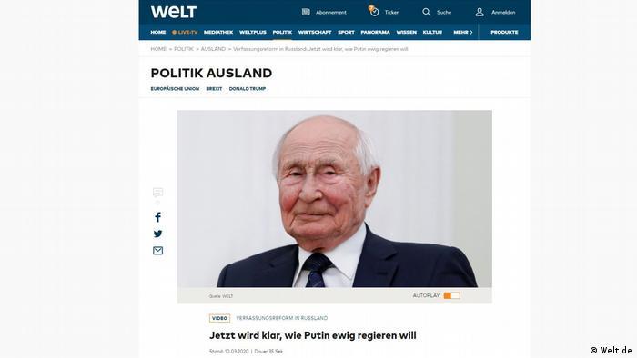 Screenshot Welt.de s izgledom ostarjelog Putian gealtert
