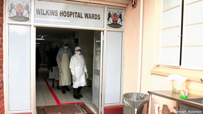 Doctors in protective gear at a hospital in Harare, Zimbabwe