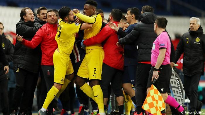 مباراة دورتموند وباريس سان جرمان شهدت توترا بين لاعبي الفريقين