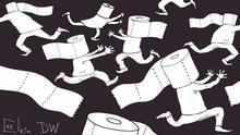 Moskau, 12.03.2020 Karikatur von Sergey Elkin zu Coronavirus und Hamsterkäufe