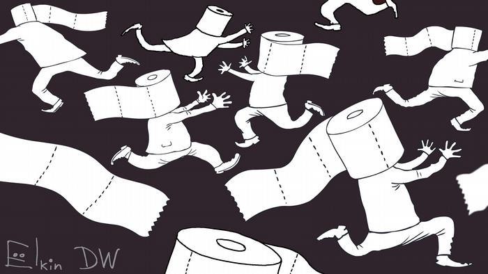Люди с рулонами туалетной бумаги на головах