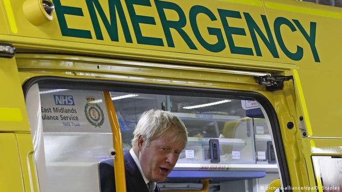 Boris Johnson inspecting an ambulance