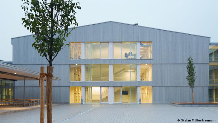 A picture of a German high school that's been awarded for its net-zero design