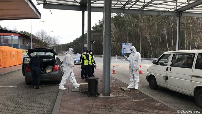 Polen Swiecko Grenze zu Deutschland | Coronavirus | Kontrollen (DW/A. Horbacz)