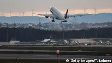 12.03.2020 FRANKFURT AM MAIN, GERMANY - MARCH 12: A United Airlines plane takes off to San Fransisco at Frankfurt Airport on March 12, 2020 in Frankfurt, Germany. U.S. President Donald Trump has announced he is imposing a ban, beginning tomorrow at midnight, on most travellers from continental Europe in an effort to stop the spread of the coronavirus. U.S. citizens and their families will still be allowed to travel and the measure is not supposed to affect international trade. Europe currently has approximately 25,000 confirmed cases of the coronavirus, with approximately half of those in Italy. (Photo by Thomas Lohnes/Getty Images)
