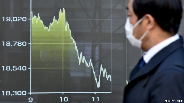Homem com máscara observa tela com gráfico que aponta queda
