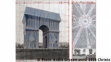 The Arc de Triumph (Project for Paris, Place de l'Etoile – Charles de Gaulle) Wrapped Collage 2018 in two parts12 x 30 1/2 and 26 1/4 x 30 1/2 (30.5 x 77.5 cm and 66.7 x 77.5 cm) Pencil, charcoal, wax crayon, fabric, twine, enamel paint, photograph by Wolfgang Volz, hand-drawn map and tape
