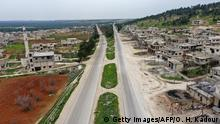 This aerial view taken on March 12, 2020 shows a view of the M4 highway, which links the northern Syrian provinces of Aleppo and Latakia, passing through the town of Mseibin, south of the city of Idlib and west of Saraqib, in the war-battered Idlib province. (Photo by Omar HAJ KADOUR / AFP) (Photo by OMAR HAJ KADOUR/AFP via Getty Images)