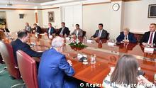 Treffen der politischen Führer in Nordmazedonien wegen Coronavirus