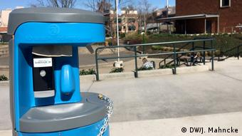 The University of Oregon has installed hand-sanitizing stations on campus