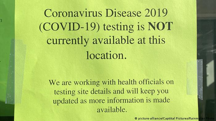 A sign says that coronavirus disease testing is not available at a lcoation