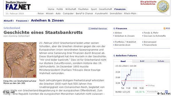 Screenshot faz.net Finanzkrise Griechenland Flash-Galerie