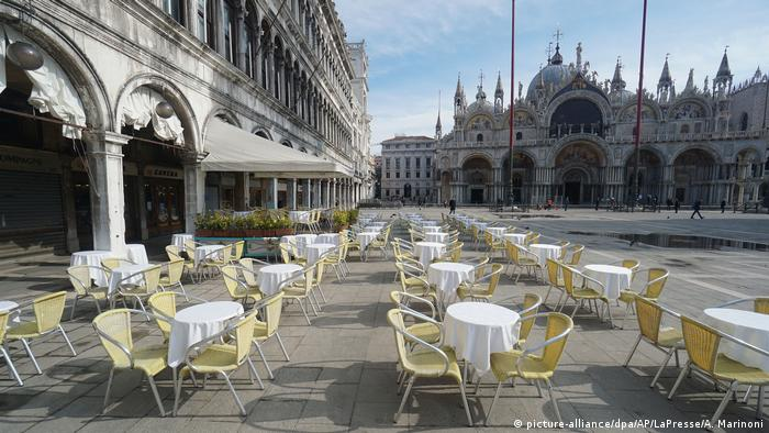 Outdoor seating is empty in Venice
